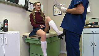 Flirty teen skipping test with pussy