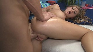 Young blonde massage girl gets pounded