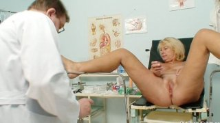 Awesome busty gramma boobies and muff gyno examination