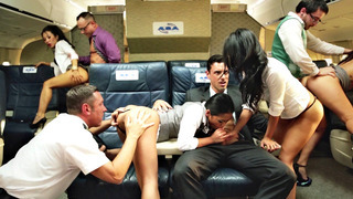 Asa Akira, Cindy Starfall, Kaylani Lei, and London Keyes having orgy on the plane