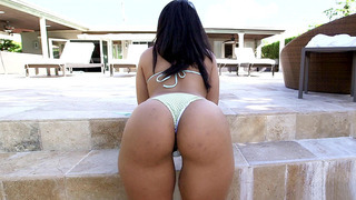 19 year old Latina Ava Sanchez has a slim waist and big ass