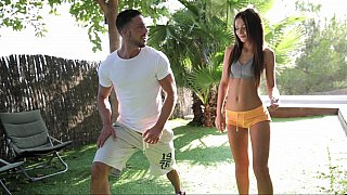 Well shaped Hungarian teen in action