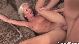 Blonde doll Eden Adams rides on her hot boyfriend