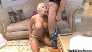 Provocative hot blonde Jacky Joy can't refuse one more cock