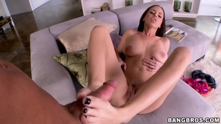 Naked Brandy Aniston gives footjob to dude
