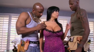 latin busty tattooed slut with two black cocks