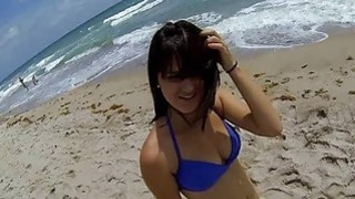 Beach babe in blue bikini got fucked and captured in spy cam