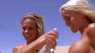 Badass hotties sandboarding and fishing