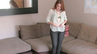Redhead amateur deep throats in British casting