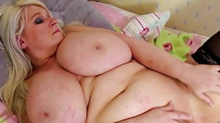 Blonde BBW underdressing and masturbating
