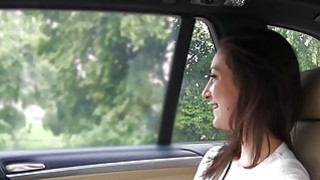 Slim brunette fucks taxi driver in public