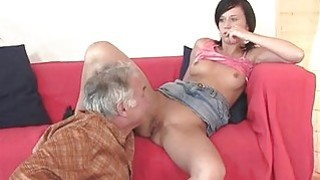 Young sweetie is fascinated to ride old hard jock
