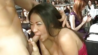 Cock sucking session for sweetheart spectators