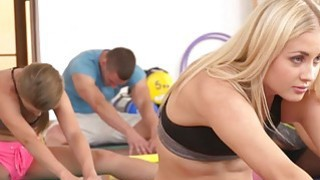 Threesome gym fucking after fitness group training