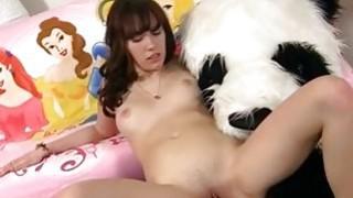 Teen cute girl made a wish of Panda bear