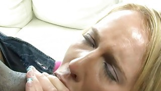 Hot blonde slut takes big black cocks in her fuckholes