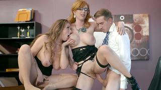 Lauren Phillips and Lena Paul commence a hot 3some with girl-girl play