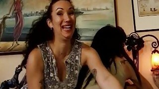 Interracial Hot chicks get fucked in orgy in diferent positions