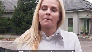 Blonde Milf bangs in car in public