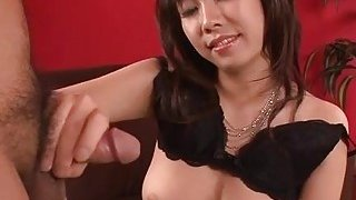 Busty oriental gives titty fuck and juicy blowjob
