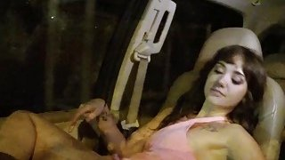Teen fucks in car in rainy night