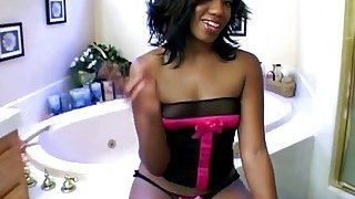 Ebony takes black and white double penetration