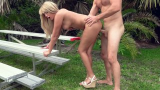 Athena Palomino gets banged from behind outdoors