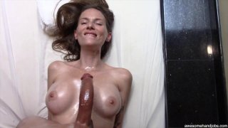 Beautiful MILF sucks and titty-fucks her black lovers monster cock