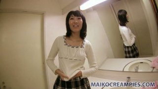 Old-fashioned Japanese Saya Kirishima  blowjob in public restroom