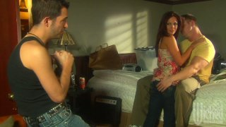 Whorish wife Kirsten Price fucks two guys while her husband is out