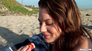 Too whorish and voracious brunette Audrina Ashley teases a cock on the beach
