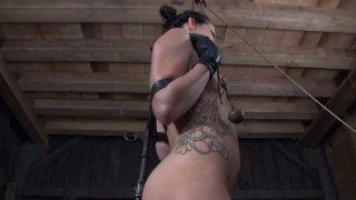 Daring bitch Hailey Young enjoys playing gonzo BDSM games