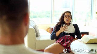 Slutty schoolgirl substituting the book with hard cock