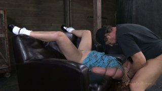 Red-haired slut Claire Robbins blowjobs while being tied