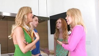 Stepmom sucks off cock and gets busted by teen babe