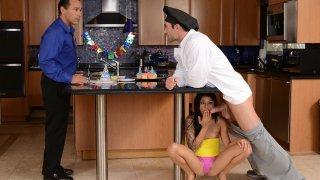 Slutty teen gets adventurous while moms absence
