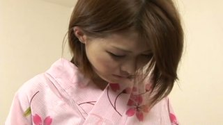 Comely oriental sweetie Akane Ogura gets her flat boobs licked
