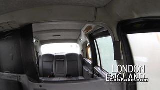 Busty British ebony interracial fucked in fake taxi