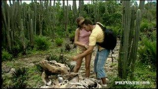 Sensual sex scene of Gilda Roberts outdoors