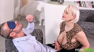 Sizzling blowjob with busty blonde Angel Wicky sucking the last drop of cum GP1466