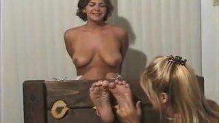 Tickling feet in the stocks