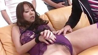 Stunning threesome along mature Akari Asagiri