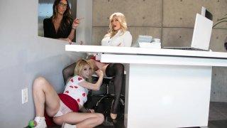 Stepma needs helping hand in serving Lesbian Boss
