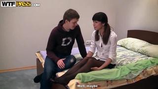 Skinny teen Elizabeth recives late night visit from boyfriend