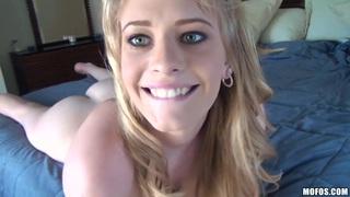 Blue eyed blonde girlfriend fucking and taking facial