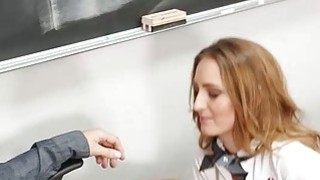 Schoolgirl Maci Winslett twat nailed and facialed by her teacher