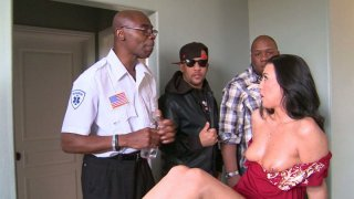 Honey White gives a handjob and gets her pussy polished