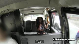 Ebony babe interracial bangs in a cab