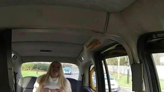Big tits amateur blonde passenger pussy stuffed in the cab