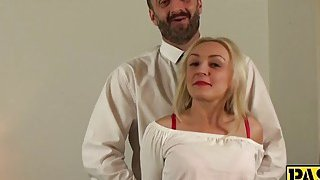 Sexy blonde mature deepthroats and gets fucked by a fat cock